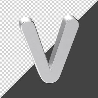 3d 렌더링에서 실버로 만든 v 편지 3d 현실적인 편지 v