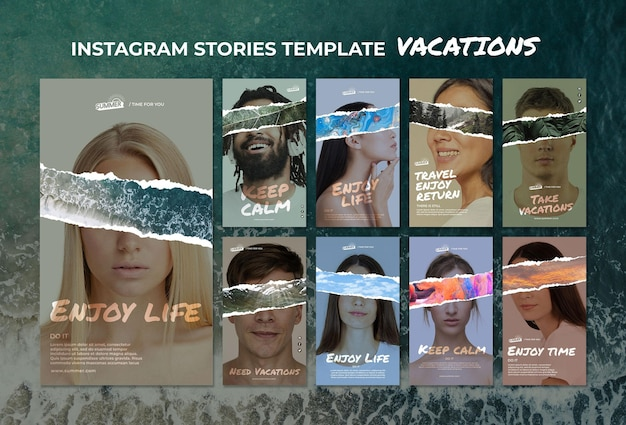 Vacation concept instagram stories template