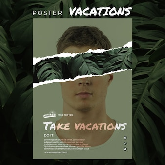 Шаблон постер отпуск концепции