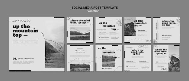 휴가 제안 소셜 미디어 게시물