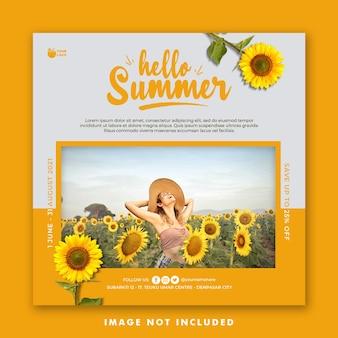 Vacation summer social media post banner template holiday
