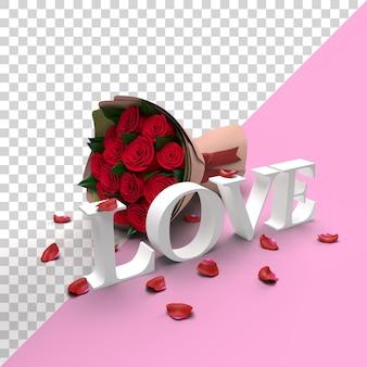 장미 꽃과 꽃잎 발렌타인 3d 사랑 단어 모형