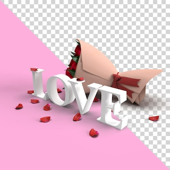 Valentine 3d love word mockup with rose flower and petals