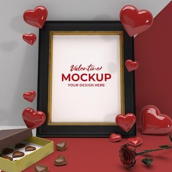 Валентина 3d романтическая фоторамка с шоколадным цветком и макет сердечка