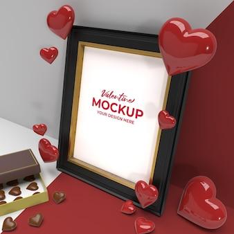 초콜릿 꽃과 하트 장식 이랑 발렌타인 3d 로맨틱 사진 프레임