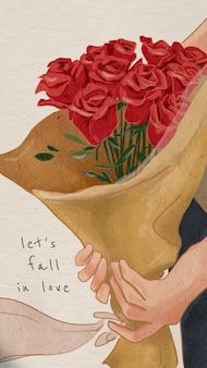 발렌타인 데이 편집 가능한 템플릿 psd 사랑에 빠지다 모바일 잠금 화면