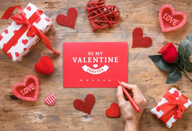 Valentine card mockup with composition of objects