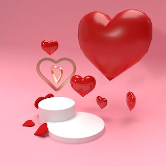 Valentine celebration product stage scene for advertisement and promotion