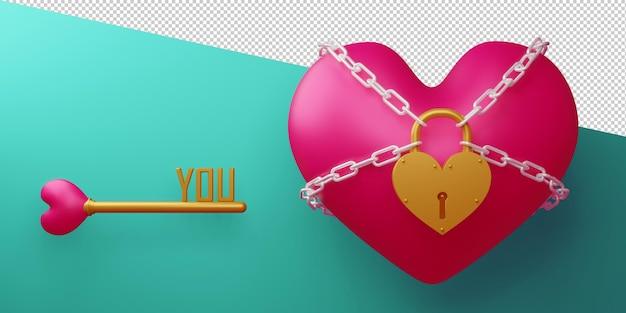 3d 렌더링 절연 발렌타인 개념 사물함
