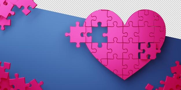 Валентина концепция любовной карты в 3d-рендеринге Premium Psd