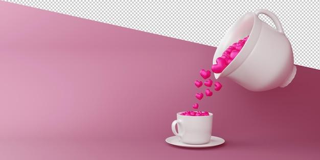 고립 된 3d 렌더링에 마음으로 발렌타인 개념