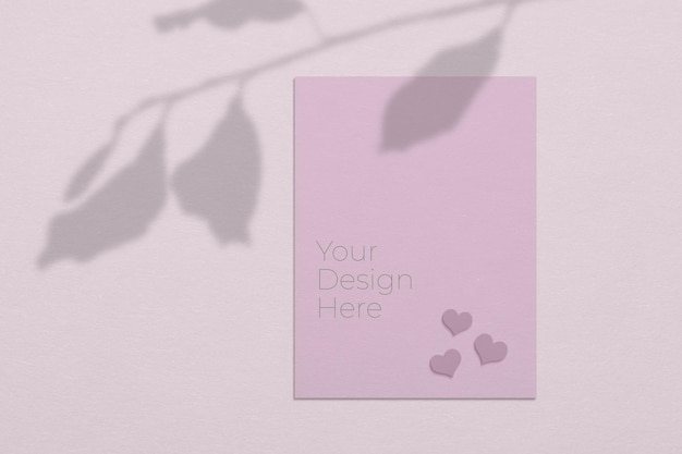 Valentine day concept mockup of blank paper sheets with tree leaves shadow overlay