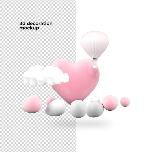 バレンタインデーの装飾バルーンモックアップデザイン