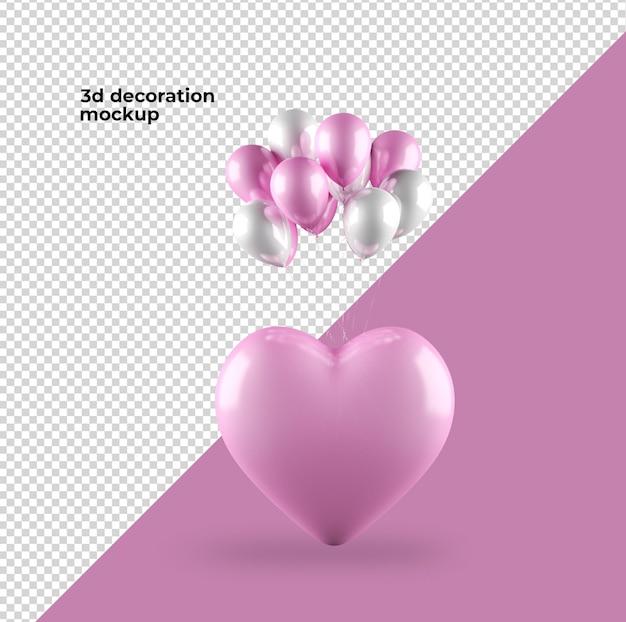 バレンタインデーの装飾のハートとバルーンのモックアップデザイン