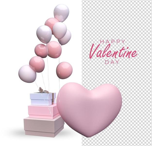 バレンタインデーの装飾のモックアップデザイン