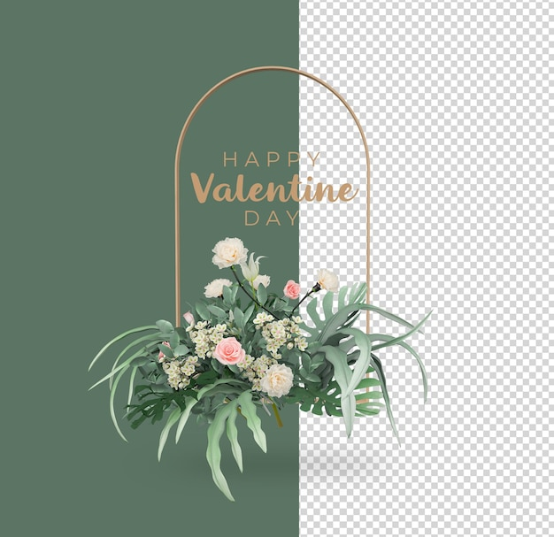 バレンタインデーの花の装飾のモックアップデザイン