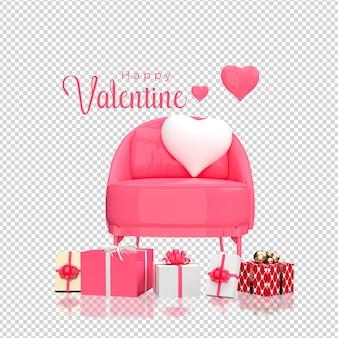 バレンタインデーのハートと椅子のモックアップ3dレンダリング
