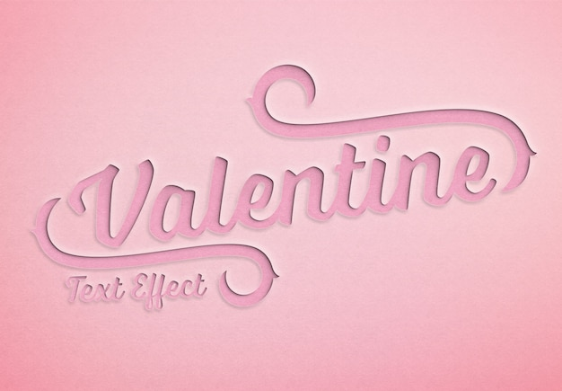 Valentine day paper cut text effect mockup