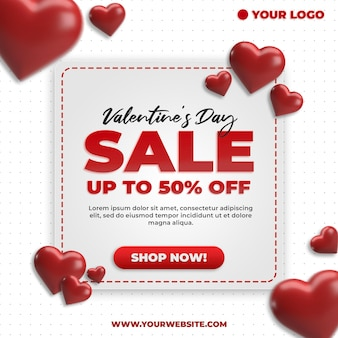 발렌타인 데이 판매 할인 프로모션 사각형 배너 소셜 미디어 모형