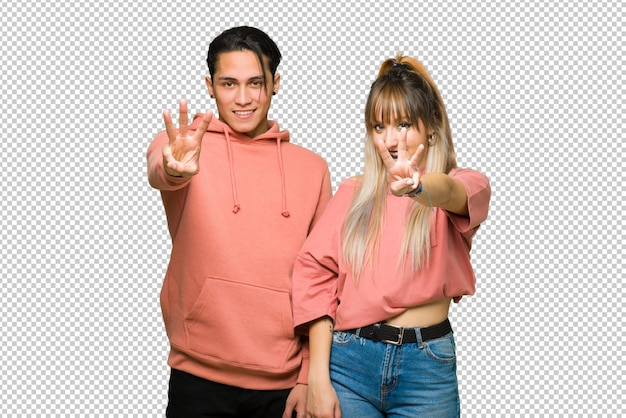In valentine day young couple happy and counting three with fingers
