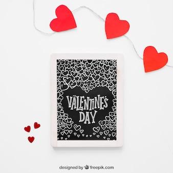 バレンタイン要素とフレームモックアップ