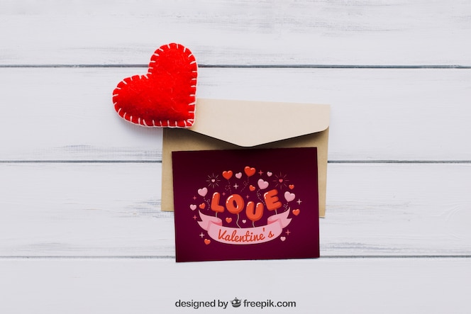 Valentine elements and card mockup