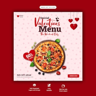 발렌타인 음식 메뉴와 맛있는 피자 소셜 미디어 배너 템플릿