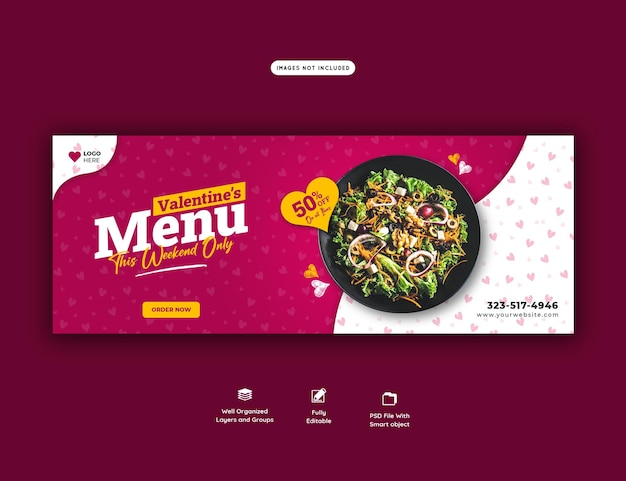 발렌타인 음식 메뉴 및 레스토랑 페이스 북 표지 템플릿