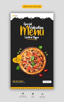 Valentine food menu and delicious pizza instagram and facebook story template