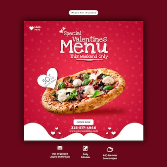 Valentine food menu and delicious pizza social media banner template