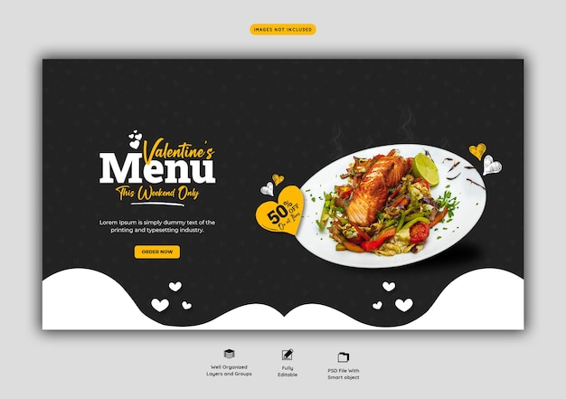 Valentine food menu and restaurant web banner template