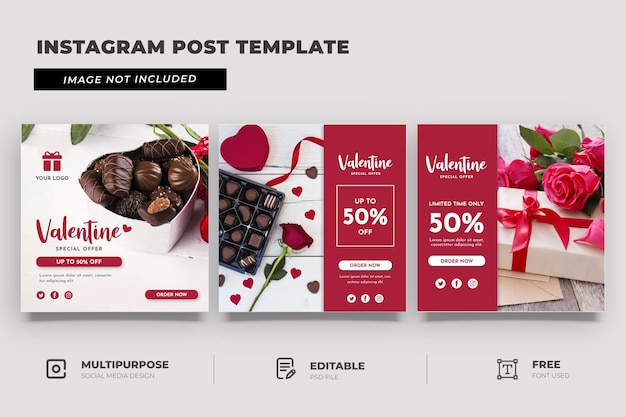 발렌타인 선물 특별 프로모션 소셜 미디어 템플릿