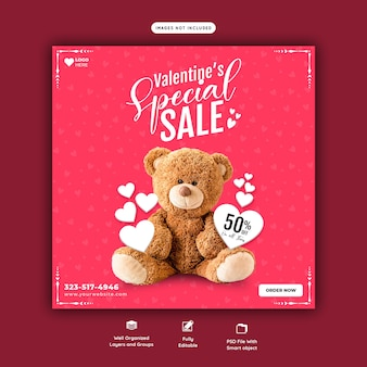 Valentine gift and toy sale social media banner template