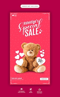 Regali di san valentino e vendita di giocattoli instagram e modello di storia di facebook
