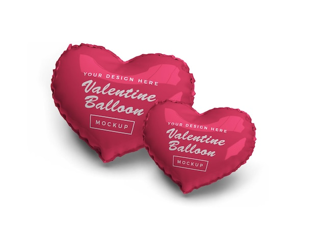Valentine heart balloon mockup design