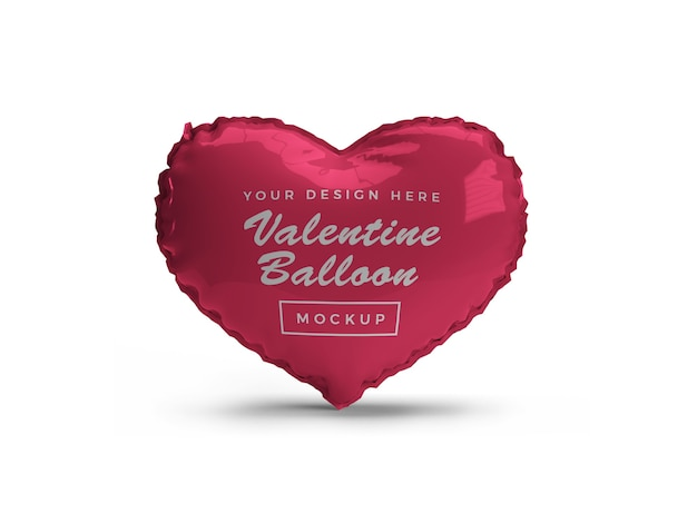 Valentine heart balloon mockup isolated