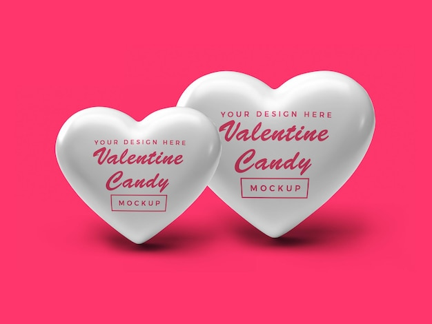 Дизайн мокапа конфеты сердце валентина Premium Psd