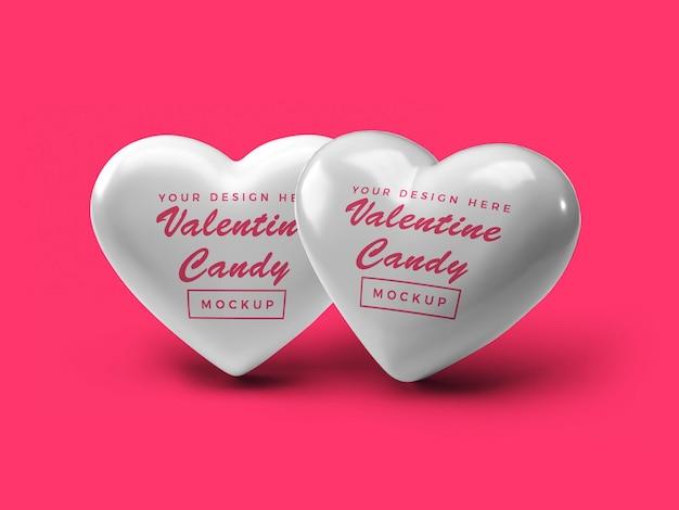 バレンタインハートキャンディモックアップデザイン