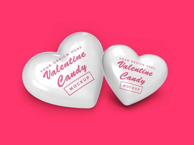 Дизайн мокапа конфеты сердце валентина