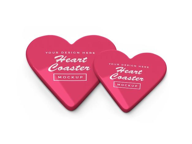 발렌타인 하트 코스터 모형 디자인 프리미엄 PSD 파일