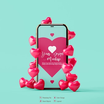 Valentine heart and mobile mockup isolated