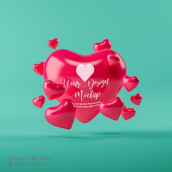 Валентина сердце макет изолированные
