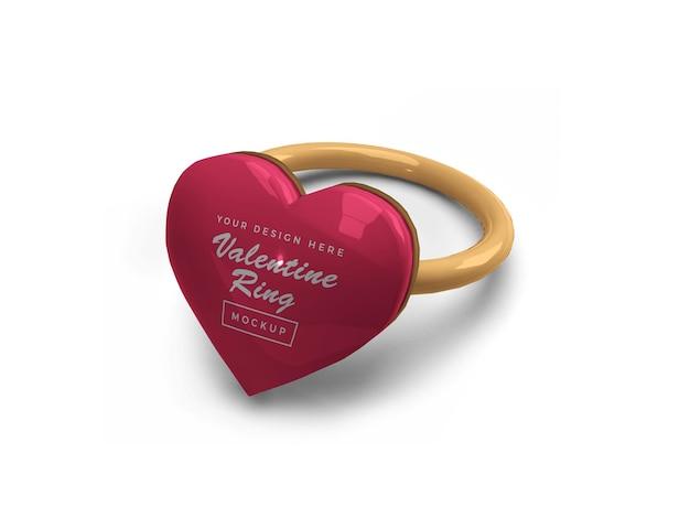 Валентина сердце кольцо макет дизайн изолированные