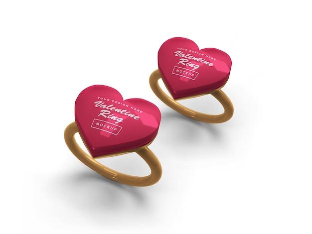 발렌타인 하트 링 모형 디자인 프리미엄 PSD 파일