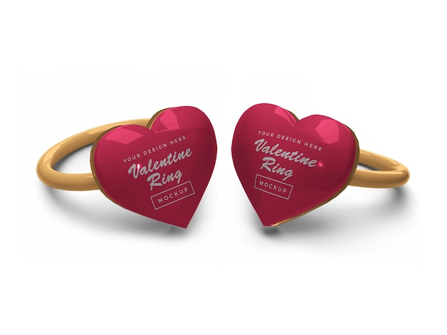 Валентина сердце кольцо макет дизайн
