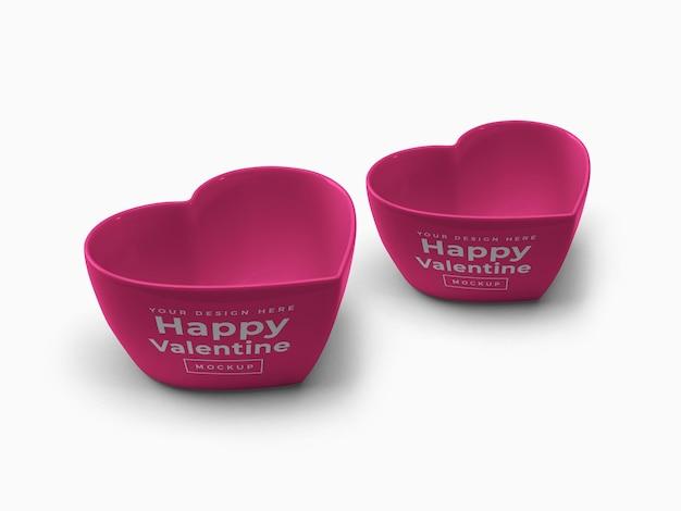 Valentine love heart container mockup design