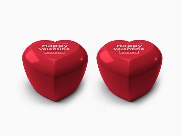 뚜껑 모형이있는 발렌타인 데이 러브 하트 용기