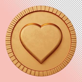 Valentine love heart symbol 3d rendering bold circular badge isolated mockup