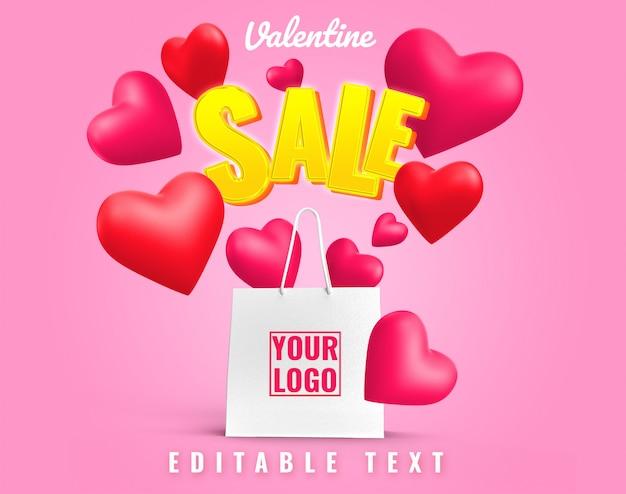 バレンタイン愛販売アートワークショッピングバッグモックアップ