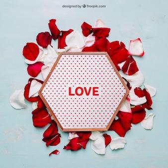Валентин макет с шестиугольной рамкой